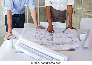 mirar, planos, dos, arquitectos