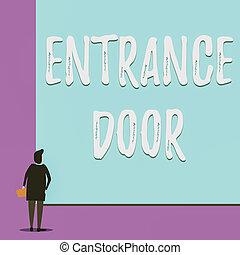 mirar, puerta, vista, grande, entrada, mano, portal, rectangle., escritura, mujer, puerta, door., ingress, conceptual, blanco, entrada, showcasing, manera, espalda, joven, actuación, pasaje, empresa / negocio, entrante, foto