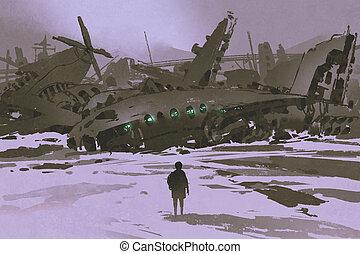 mirar, restos, nieve, destruido, aviones, hombre