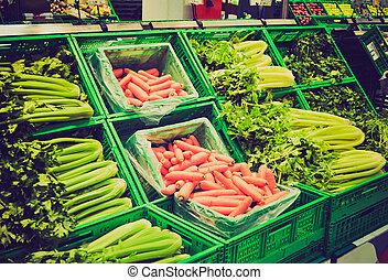 mirar, retro, supermercado