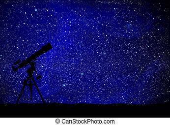 mirar, telescopio, manera, wilky