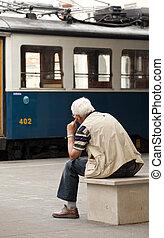mirar, tranvía, viejo