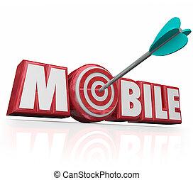 mirare, mobile, pubblicità on-line, freccia, digitale, parola, ecommerce