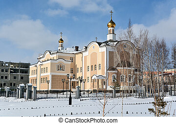 Mirny, Russia - March 27, 2014: Holy - Trinity Church in the city of Mirny, Republic of Sakha
