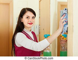 miroir, femme ménage, maison