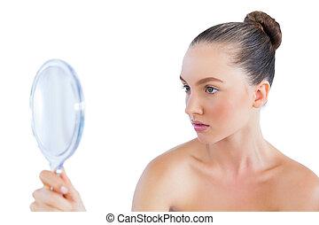 miroir, femme regarde, beau