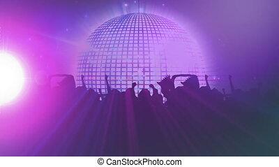 miroir, foule, coloré, balle, silhouettes, projecteurs, disco, en mouvement, animation, autour de, p