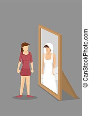 miroir, illustration, elle-même, mariée, dessin animé, femme, vecteur, voit