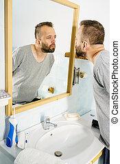 miroir, lui-même, regarder, homme