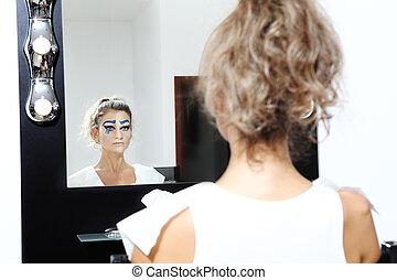 miroir, modèle, faire, concept, haut