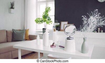 miroir, produits, desk., beauté