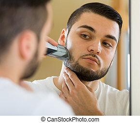 miroir, regarder, rasage