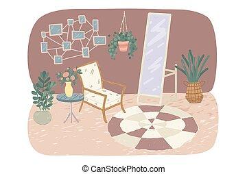 miroir, salle, confortable, illustration, vivant, intérieur, plants., potted, vecteur, fauteuil