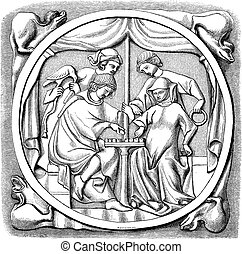 miroir, vendange, gravure