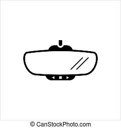 miroir voiture, vue, arrière, icône