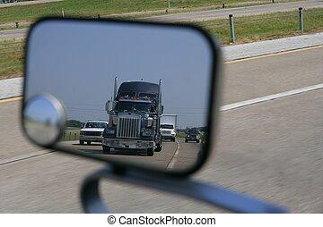 miror, トラック, 道, 到来, 後部光景
