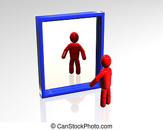 Mirror - 3d person who looks at the reflexion in a mirror.
