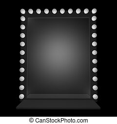Mirror - A mirror with bulbs around, 3d render
