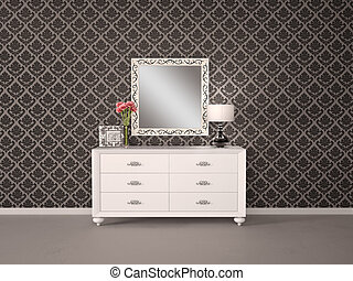 Mirror and chest of drawers in a modern style and...