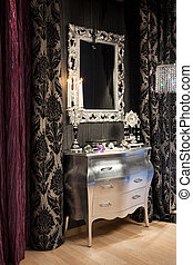 mirror and clock - mirror, a clock and burning candles in ...