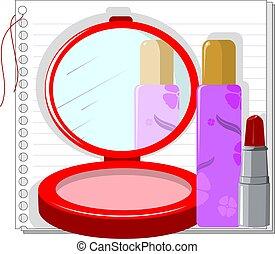 Mirror and lipstick