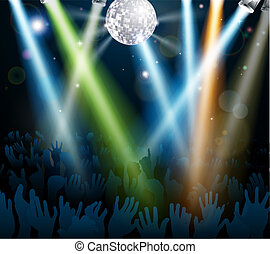Mirror ball dance floor crowd - Crowd dancing at a concert...