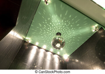 mirror ball on the ceiling