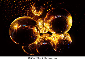 Mirror Ball - Mirror balls for discos on a black background