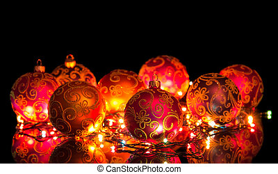 Mirror balls, a glowing garland on a black