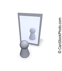 mirror - play figure  see itself at a mirror