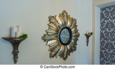 Mirror decoration with candles - Vintage mirror with candle...