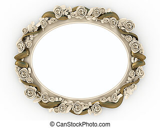 Mirror - Decorative wooden mirror isolated on white ...