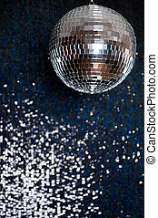Mirror disco ball hanging from the ceiling