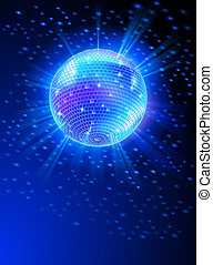 Mirror Disco Ball - Sparkling Disco Ball on Blue Light Burst
