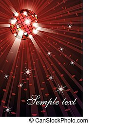 Vector illustration of mirror disco ball on red background