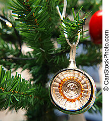 Mirror effect ball as a decoration on Christmas tree