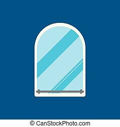 Mirror flat icon on blue background. Vector illustration.