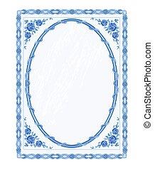 Mirror frame faience vintage style vector