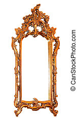 Mirror frame - Golden mirror frame isolated included ...