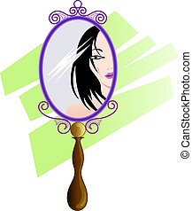 mirror	 - Illustration of mirror with girl face
