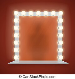 Mirror in bulbs frame with makeup table vector illustration