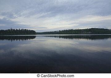 Mirror lake at white night