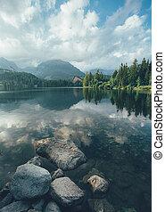 Mirror Lake Strbske pleso in the High Tatras.