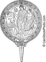 Mirror located in Pompeii, vintage engraving. - Mirror...