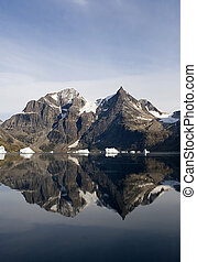Mirror of a mountain in the water