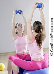mirror pilates gym woman toning balls sport gym