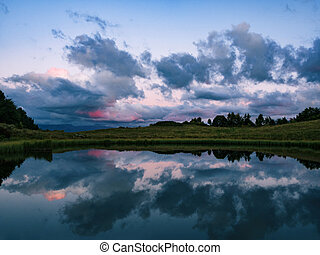 Mirror reflection of clouds on lake