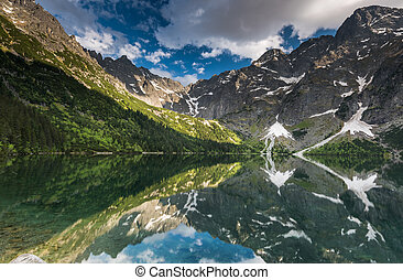 mirror reflection of mountains peaks in alpine lake