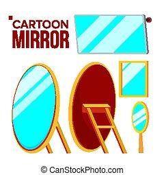 Mirror Set Vector. Isolated Flat Cartoon Illustration