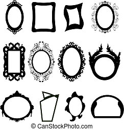 Set of different modern and ancient mirrors silhouettes. Vector illustration.